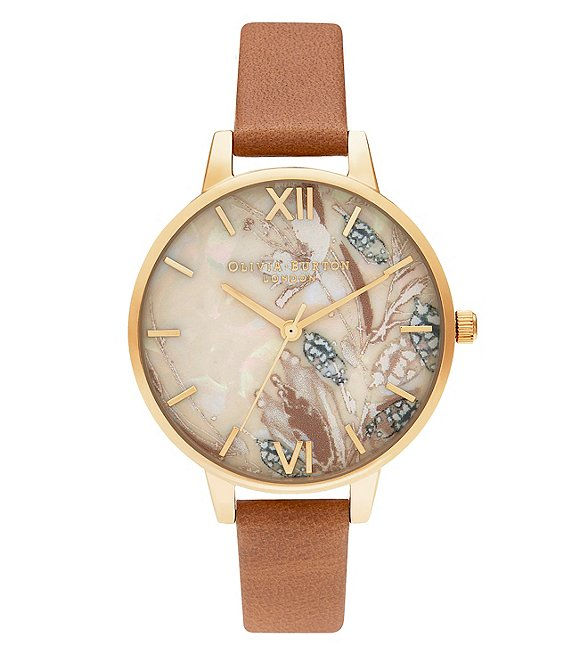 Color:Tan - Image 1 - Abstract Florals Honey Tan & Gold Strap Watch
