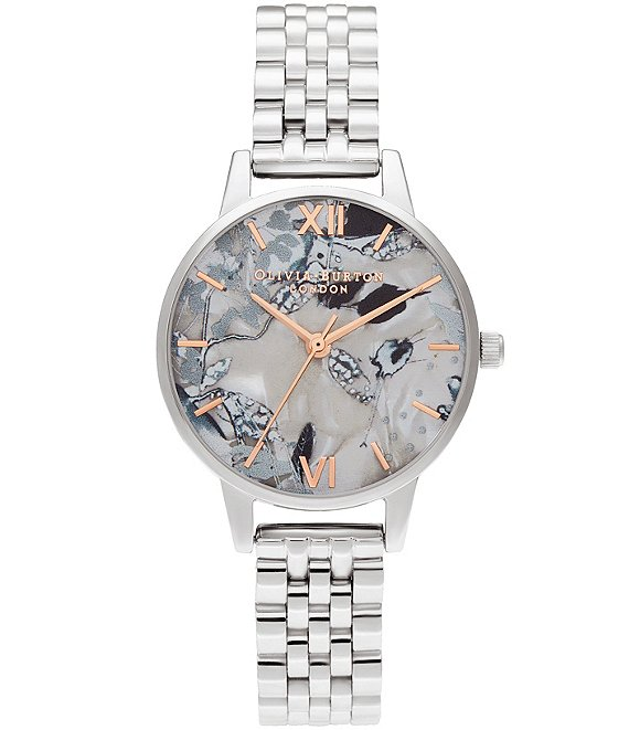 Color:Silver - Image 1 - Abstract Florals Silver Bracelet Watch