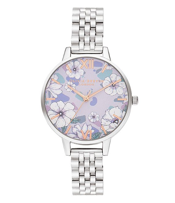 Color:Silver - Image 1 - Quartz Analog Groovy Blooms Stainless Steel Bracelet Watch