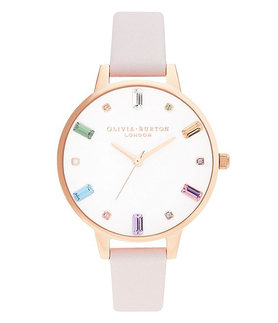 Color:Rose Gold - Image 1 - Rainbow Blossom Rose Gold Leather Watch
