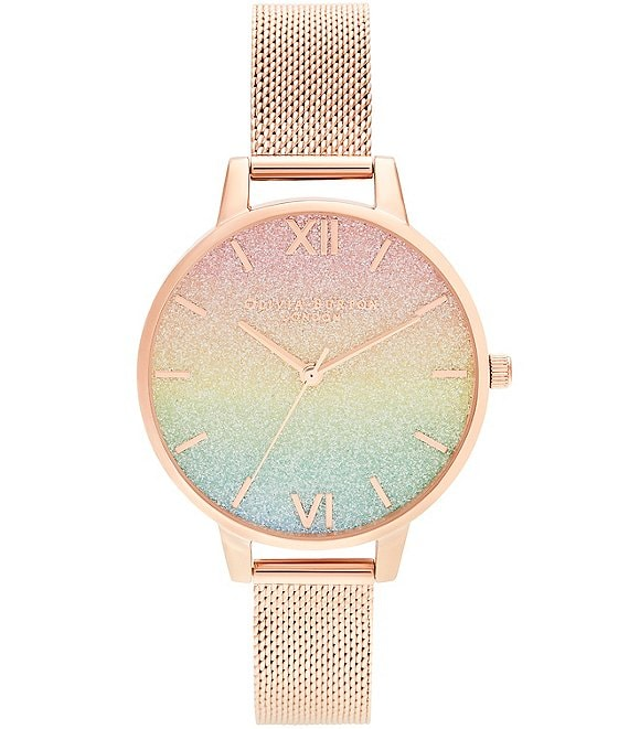 Color:Rose Gold - Image 1 - Rainbow Glitter Dial & Rose Gold Mesh Watch