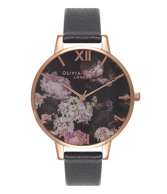 Color:Black - Image 1 - Signature Floral Black & Rose Gold Watch