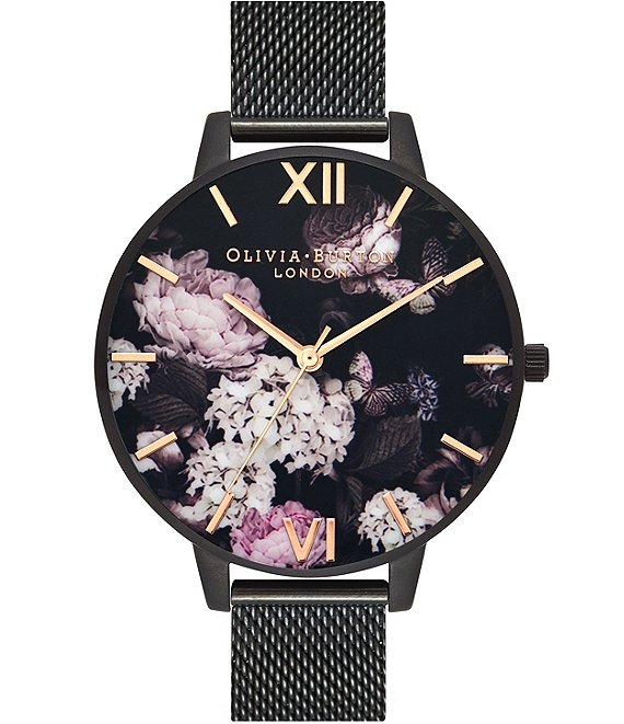 Color:Black - Image 1 - Signature Florals IP Black Mesh Watch