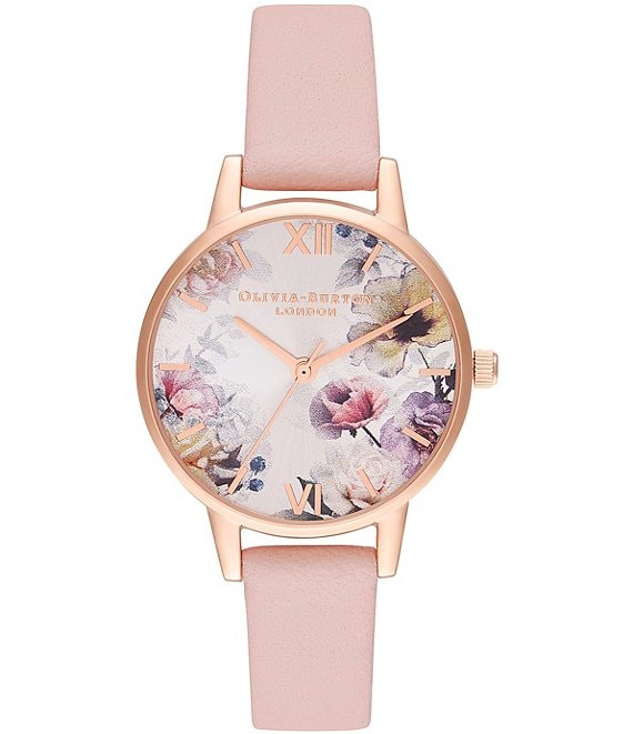 Color:Pink - Image 1 - Sunlight Florals Dusty Pink & Rose Gold Leather Strap Watch