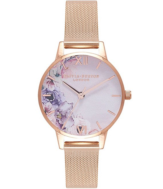 Olivia Burton Watercolour Florals Rose Gold Mesh Watch