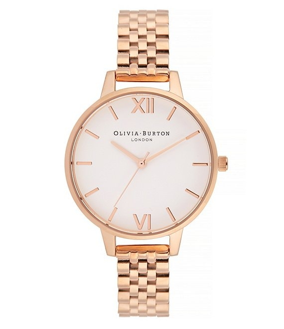Color:Rose Gold - Image 1 - White Dial Demi Dial Watch