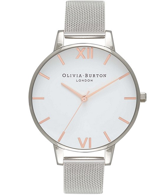 Color:Silver - Image 1 - White Dial Rose Gold & Silver Mesh Watch