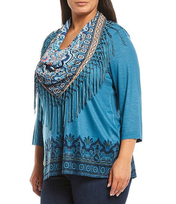 Color:Blue-Country Scarf - Image 1 - Plus Size 3/4 Sleeve Border Print Knit Top with Detachable Fringe Scarf