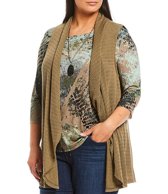 Color:Olive/City Graphite - Image 1 - Plus Size City Graphic Print 3/4 Sleeve Sublimated Drape Detail Top with Necklace