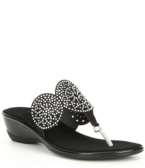 Onex Alfie Studded Leather Thong Wedge Sandals