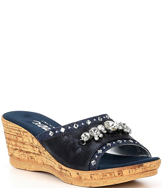 Color:Denim - Image 1 - Elyza Embellished Slide Sandals