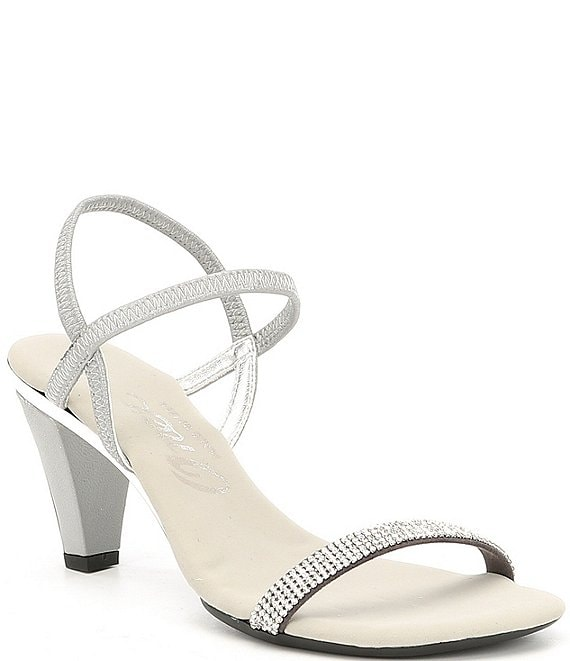 Color:Silver - Image 1 - Iced Rhinestone Embellished Leather Dress Sandals