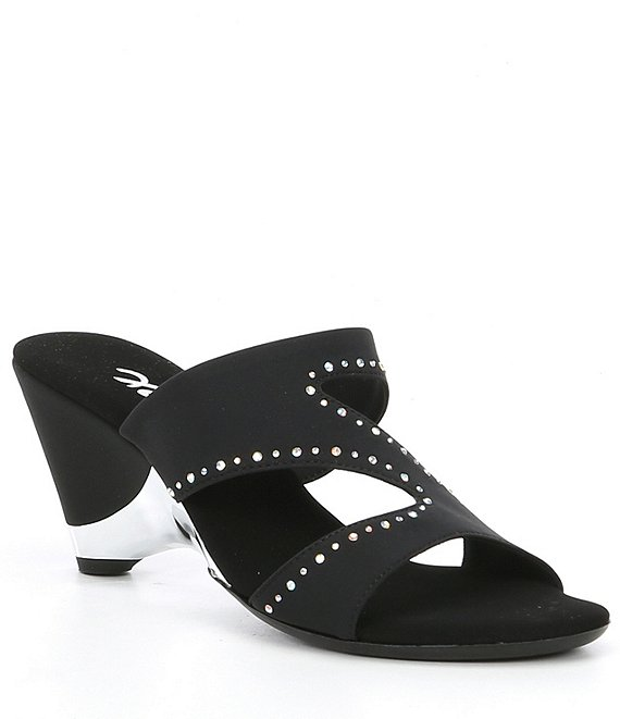 Color:Black - Image 1 - Natalia Rhinestone Embellishments Elastic Wedge Slides