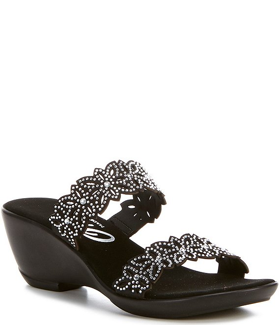 Color:Black - Image 1 - Stacey Banded Floral Embellished Leather Slide Sandals