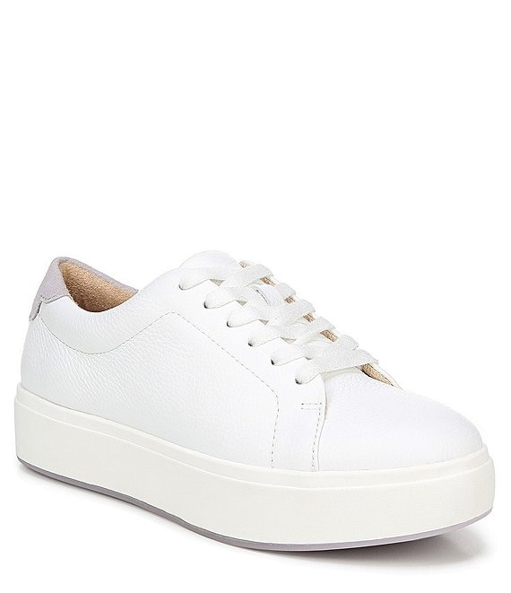 Color:White - Image 1 - Abbot Laced Leather Flatform Sneakers