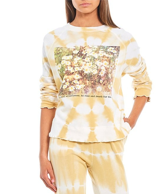 Color:Yellow - Image 1 - Coordinating Daisy Fields Tie-Dye Ruffle Hem Graphic Sweatshirt