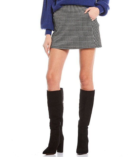 Color:White/Black - Image 1 - Houndstooth Plaid Knit Mini Skirt