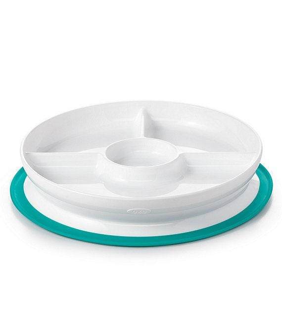 Color:Teal - Image 1 - Tot Stick & Stay Suction Divided Plate