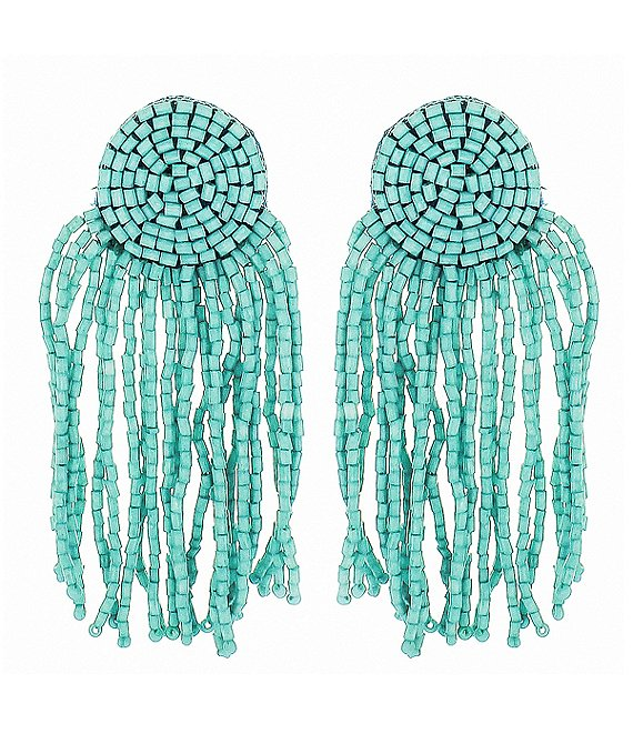 Panacea Seed Bead Fringe Statement Earrings