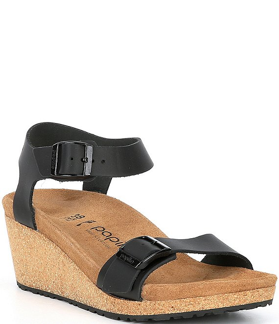 Color:Black - Image 1 - Papillio by Birkenstock Soley Leather & Cork Ankle Strap Wedges