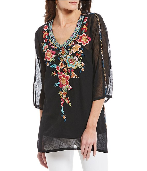 Paris Hues Sheer Floral Embroidered V-Neck Tunic with Cami