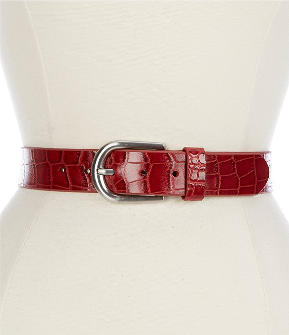 Color:Red - Image 1 - 1.25#double; Vietri Distressed Croco Belt