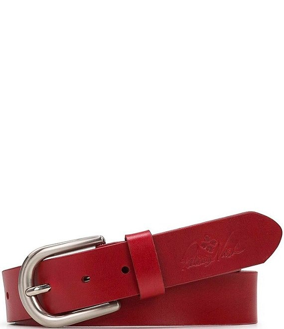 Color:Red - Image 1 - 1.5#double; Vietri Leather Brights Belt