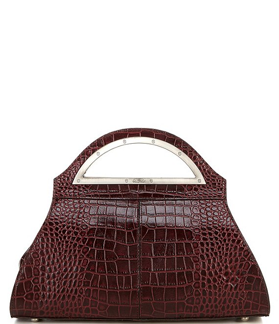 Color:Plum - Image 1 - Distressed Vintage Crocodile Collection Selby Satchel Bag