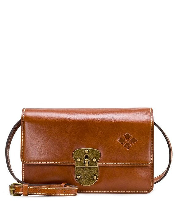 Color:Tan - Image 1 - Heritage Collection Laval Leather Crossbody Bag