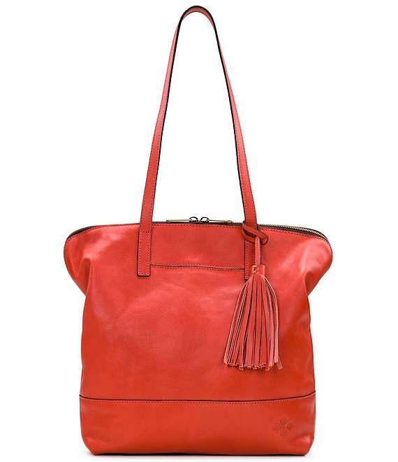 Color:Burnt Coral - Image 1 - Leather Brights Collection Rochelle Tassel Satchel Bag