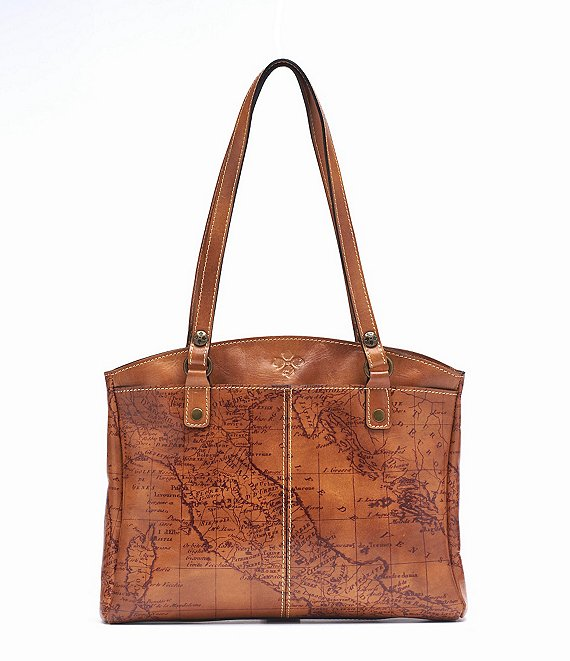 Patricia Nash Signature Map Collection Poppy Top-Zip Tote