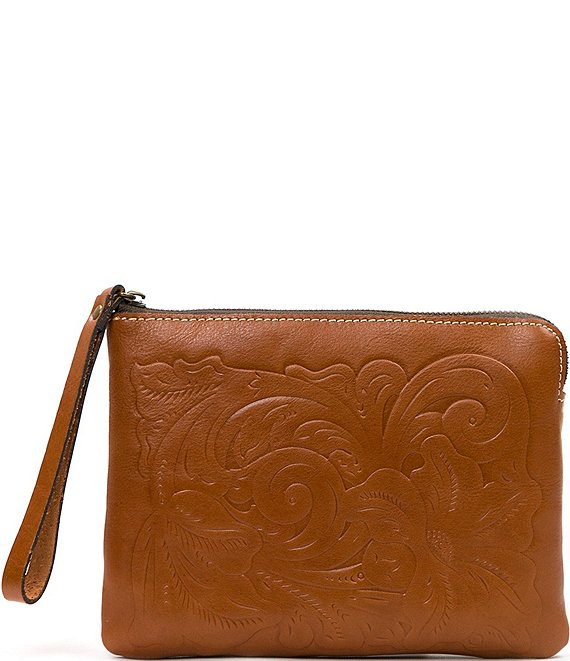 Color:Florence - Image 1 - Tooled Cassini Floral-Embossed Wristlet Clutch