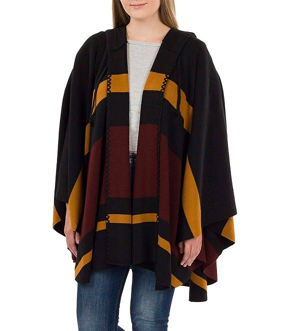 Color:Camel/Black/Chocolate - Image 1 - Women's Striped Hooded Cape