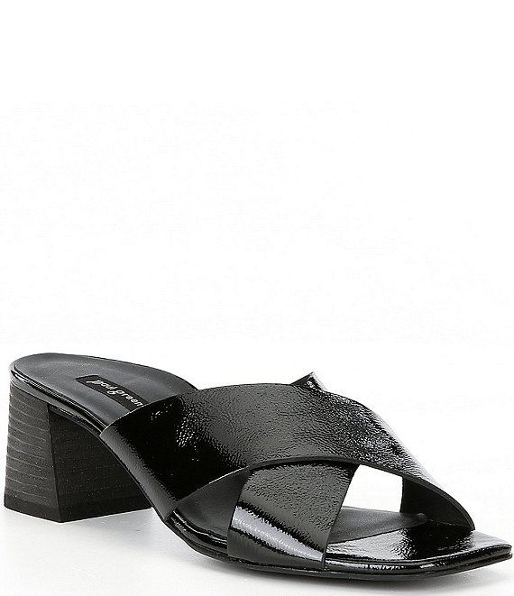 Color:Black Crinkle Patent - Image 1 - Cici Leather Square Toe Sandals