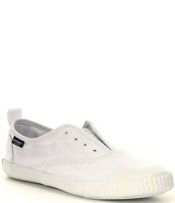 Color:White - Image 1 - Paul Sperry Sayel Canvas Clew Slip-On Sneakers