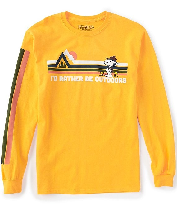 Color:Gold - Image 1 - Snoopy Be Outdoors Long-Sleeve Graphic T-Shirt
