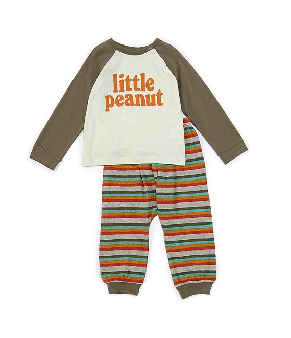 Color:Light Green - Image 1 - Baby Boys 3-24 Months Long-Sleeve Little Peanut Raglan Tee & Striped Jogger Pant Set