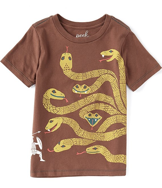 Color:Dark Brown - Image 1 - Little/Big Boys 2T-12 Short-Sleeve Nine Headed Hydra Jersey Knit Tee