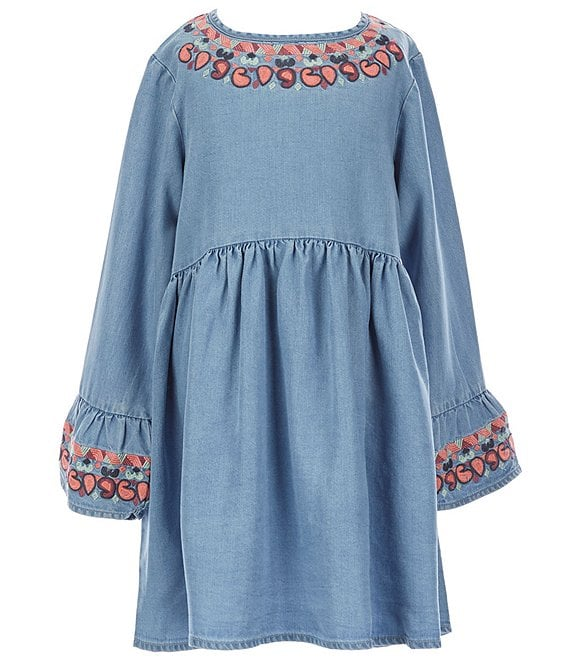 Color:Chambray - Image 1 - Little/Big Girls 2T-12 Embroidered Chambray A-Line Dress