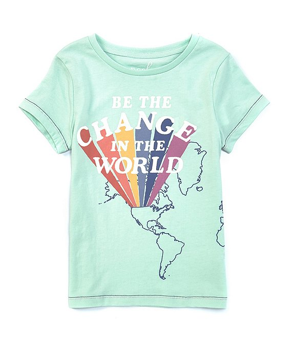 Color:Light Green - Image 1 - Little/Big Girls 2T-12 Short-Sleeve Change The World Tee