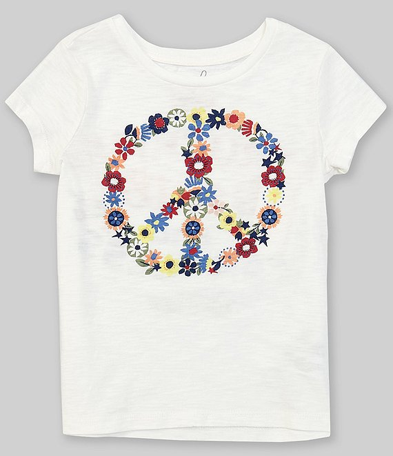 Color:Off White - Image 1 - Little/Big Girls 2T-12 Short-Sleeve Peace Sign Graphic Tee