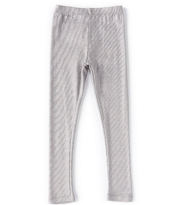 Color:Silver - Image 1 - Little/Big Girls 2T-14 Foiled Metallic Leggings