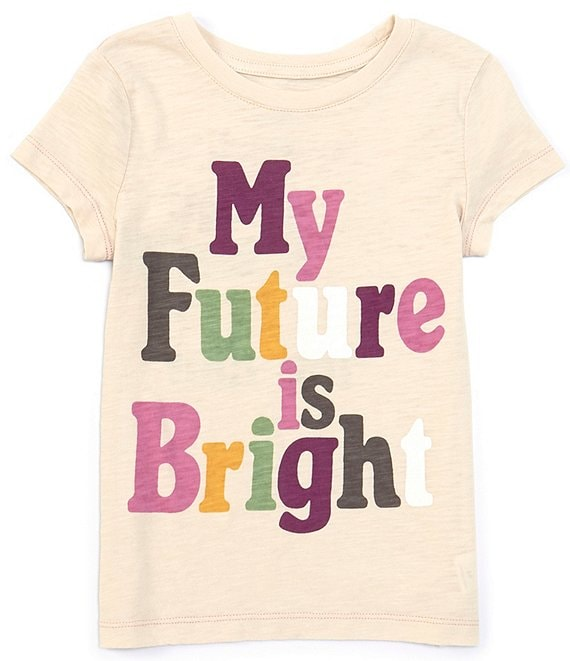 Color:Toast - Image 1 - Little/Big Girls 2T-14 Short-Sleeve My Future Is Bright Tee