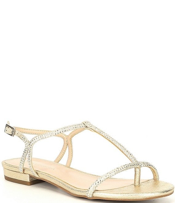 Color:Platinum Gold - Image 1 - Barber Metallic Suede Crystal Embellished Dress Sandals