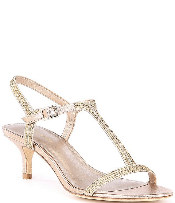Color:Platinum Gold - Image 1 - Fable Rhinestone Jeweled Metallic Suede Dress Sandals