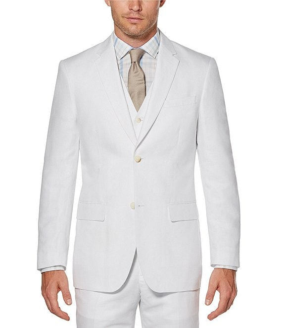 Color:Bright White - Image 1 - Big & Tall Solid Linen Jacket