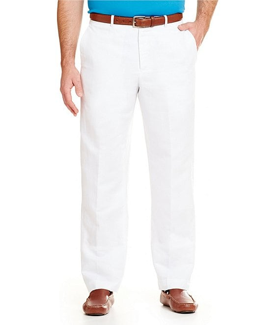 Perry Ellis Classic Fit Solid Bright White Flat Front Linen Cotton Pants