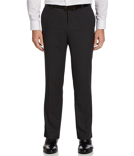 Perry Ellis Non-Iron Solid Stretch Flat-Front Suit Separates Dress Pants