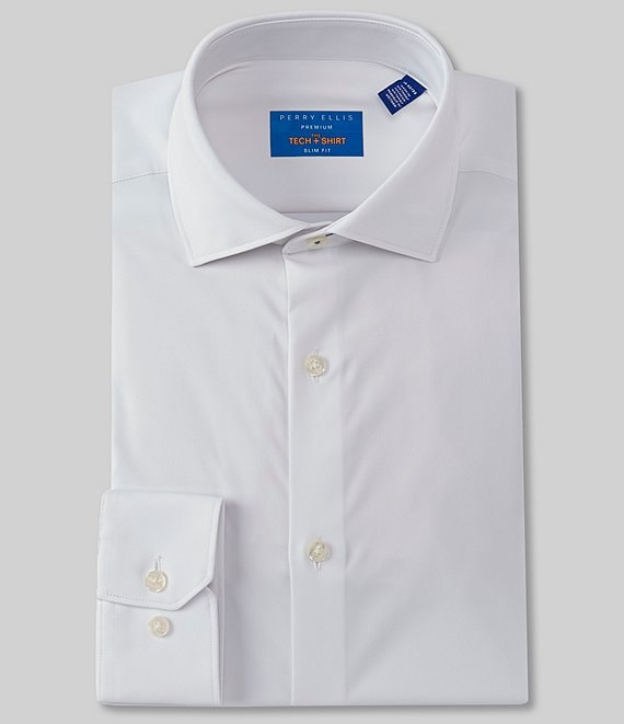 Color:White - Image 1 - Premium Non-Iron Performance Slim-Fit Spread Collar Solid Dress Shirt