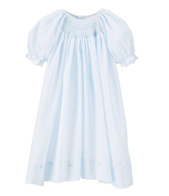 Color:Blue - Image 1 - Baby Girls Preemie-9 Months Smocked Dress